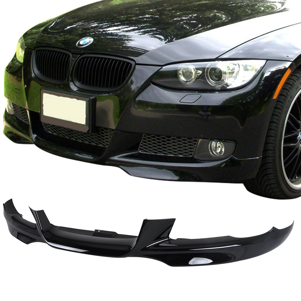 Pre-painted Front Bumper Lip Fits 2007-2010 BMW E92 E93 3 Series | M-Tech Style Painted Jet Black #668 PP Air Dam Chin Protector Front Bumper Lip other color available by IKON MOTORSPORTS | 2008 2009