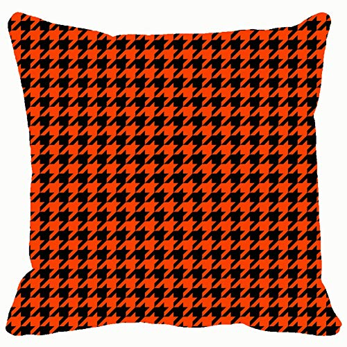 Orange Black Houndstooth Tartan Throw Pillows Covers Accent Home Sofa Cushion Cover Pillowcase Gift Decorative 18x18 inches ()
