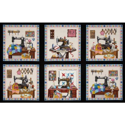 Elizabeth's Studio Stitch in Time Sewing Patchwork Panel Black