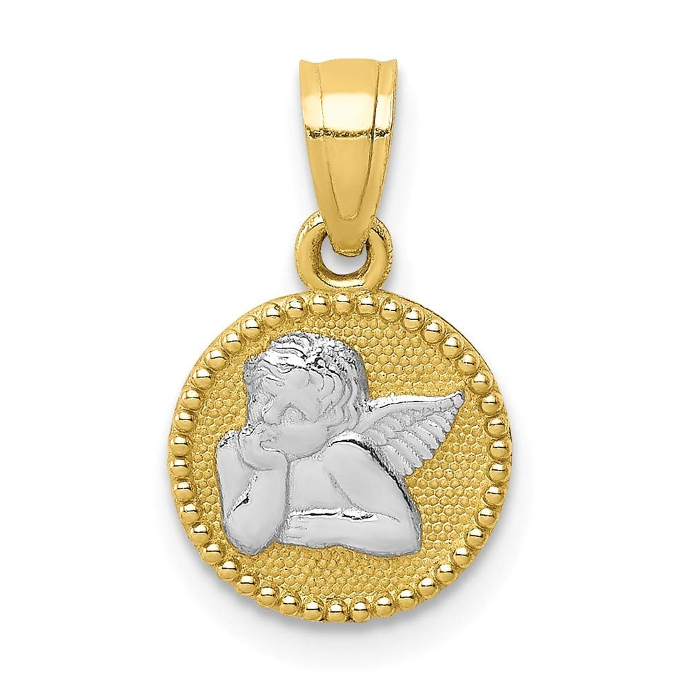 10k With Rhodium Angel Pendant