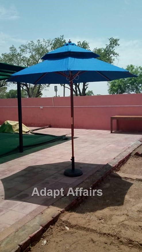 Invezo Impression Luxury Wooden Center Pole Patio Umbrella 9 ft diameter Blue Color with Base