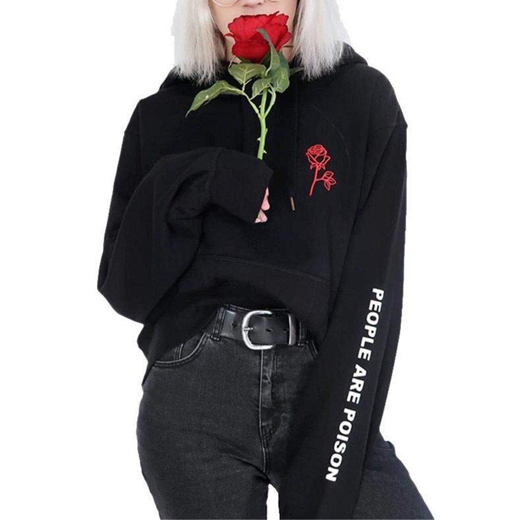 Mujer Sudaderas con Capucha, Lananas Mujer Hoodies Moda Manga Larga Bordado de Rosas Carta Impresión Novio Estilo Hip Hop Negro Sweatshirt Tops Blusa: ...