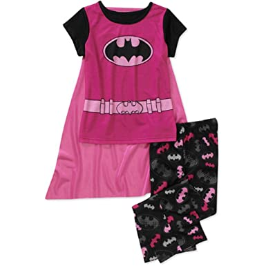 DC Comics Little Girls Pink Batgirl Pajamas with Cape ...