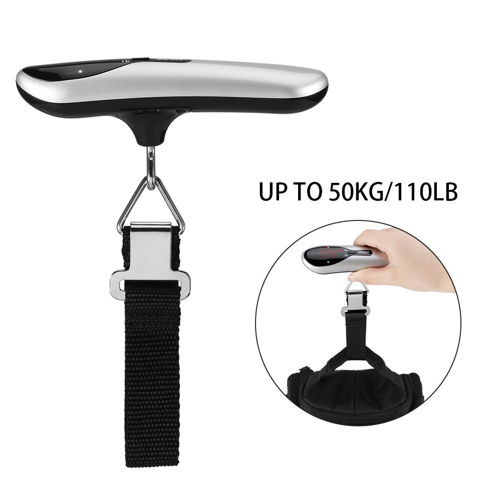 Digital Luggage Scale, DDSKY Handheld Luggage Scales with 110lb/50kg Capacity, High Precision, Backlight LCD Display for Travel Shopping Postal Household (Black)
