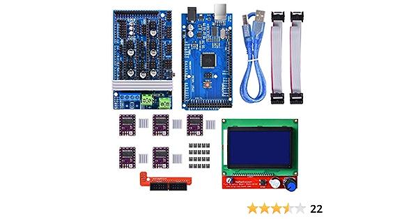 WINSINN Kit de controlador de impresora 3D para Arduino Mega 2560 Uno R3 Starter Kits + RAMPS 1.6 Upgraded Mosfet + 5 piezas DRV8825 Stepper Motor ...