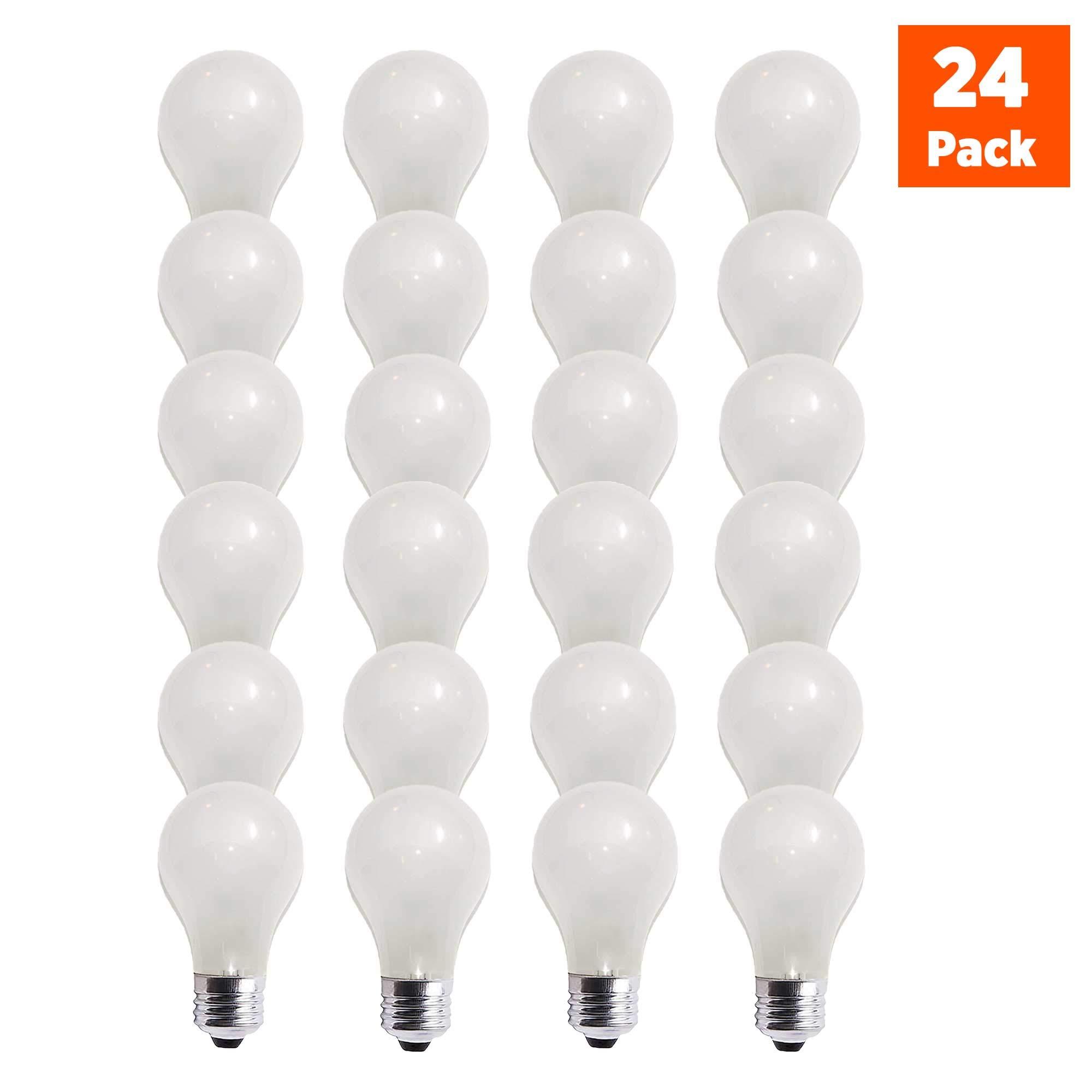 60 Watt A19 Medium Base 130 Volt Rough Service 5000 Hour Incandescent - Standard Household E26 Bulb (24 Pack)