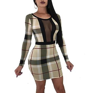 YAN Vestido de Mujer Vestido Ajustado para Mujer - Patchwork Mesh High Rise Mini Paquete de