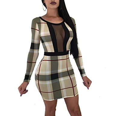 43aea377f2 Women's Bodycon Dress - Patchwork Mesh High Rise Mini Long Sleeve ...