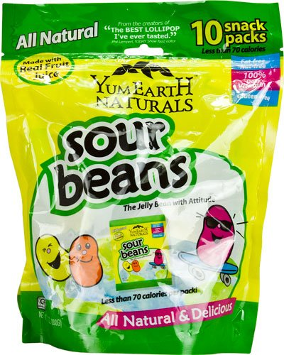 Yummy Earth YumEarth? Naturals Sour Beans Jelly Beans Gluten Free Assorted Fruit -- 10 Packs - 2 pc