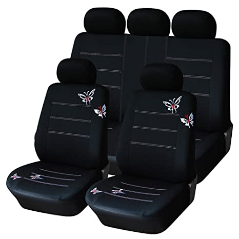 AUTOYOUTH Car Seat Covers For Women Full Set Universal Fit Protectors Rear Split Butterfly