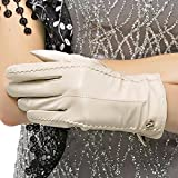 Nappaglo Women's Classic Genuine Nappa Leather Gloves Pure Cashmere Lining Winter Warm Simple Gloves (Touchscreen or Non-Touchscreen) (L (Palm Girth:7.5''-8''), Creamy White (Non-Touchscreen))