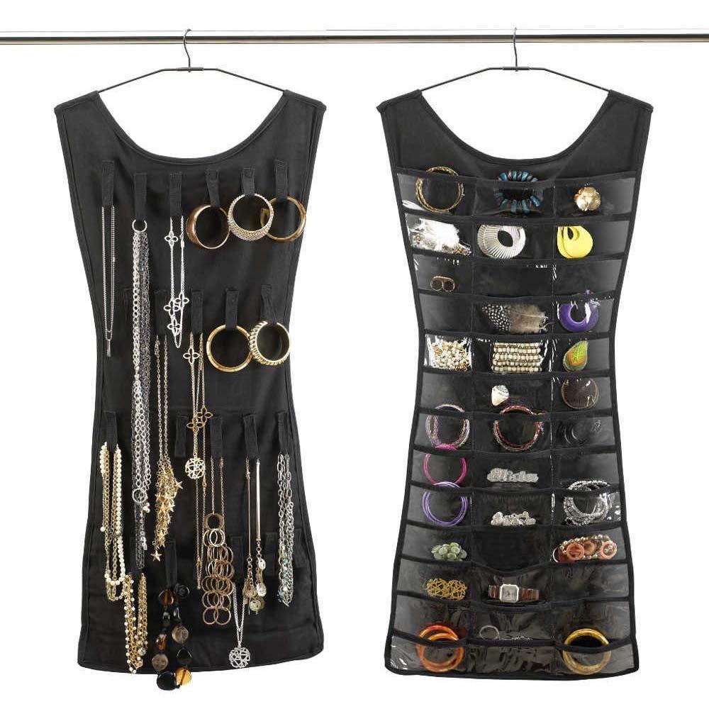 Contenitore di stoccaggio 83x47cm borsetta per gioielli con doppio borsellino nero (30 tasche + 14 ganci) Hemore