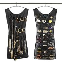 Contenitore di stoccaggio 83x47cm borsetta per gioielli con doppio borsellino nero (30 tasche + 14 ganci)