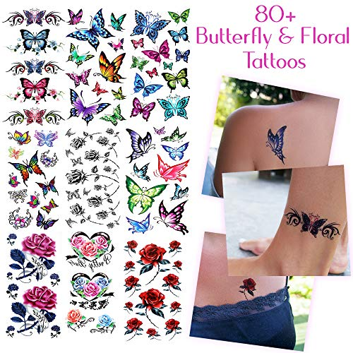 80+ Beautiful Temporary Tattoos Assorted Butterflies and Flowers - For Women and Girls Tattoos for Arms Legs Shoulder or Back