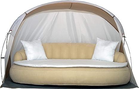 Dekovita Tumbona de jardín Hinchable 220x130cm Sofá Cama Incl. Almohada Colchón Canopy 2-3 Personas hasta 200KG Beige: Amazon.es: Deportes y aire libre