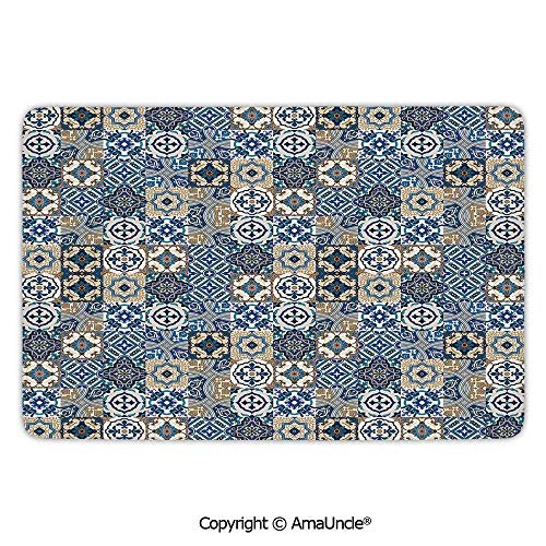 Customized Modern Door Mats,Moroccan,Big Collection of Portuguese Traditional Azulejo Motifs Oriental Curls,Blue White Pale Brown Pattern,L15.7xW23.6 Inches,for Indoor and Outdoor Area Rug,Short - Blue Dining Ridge Chair