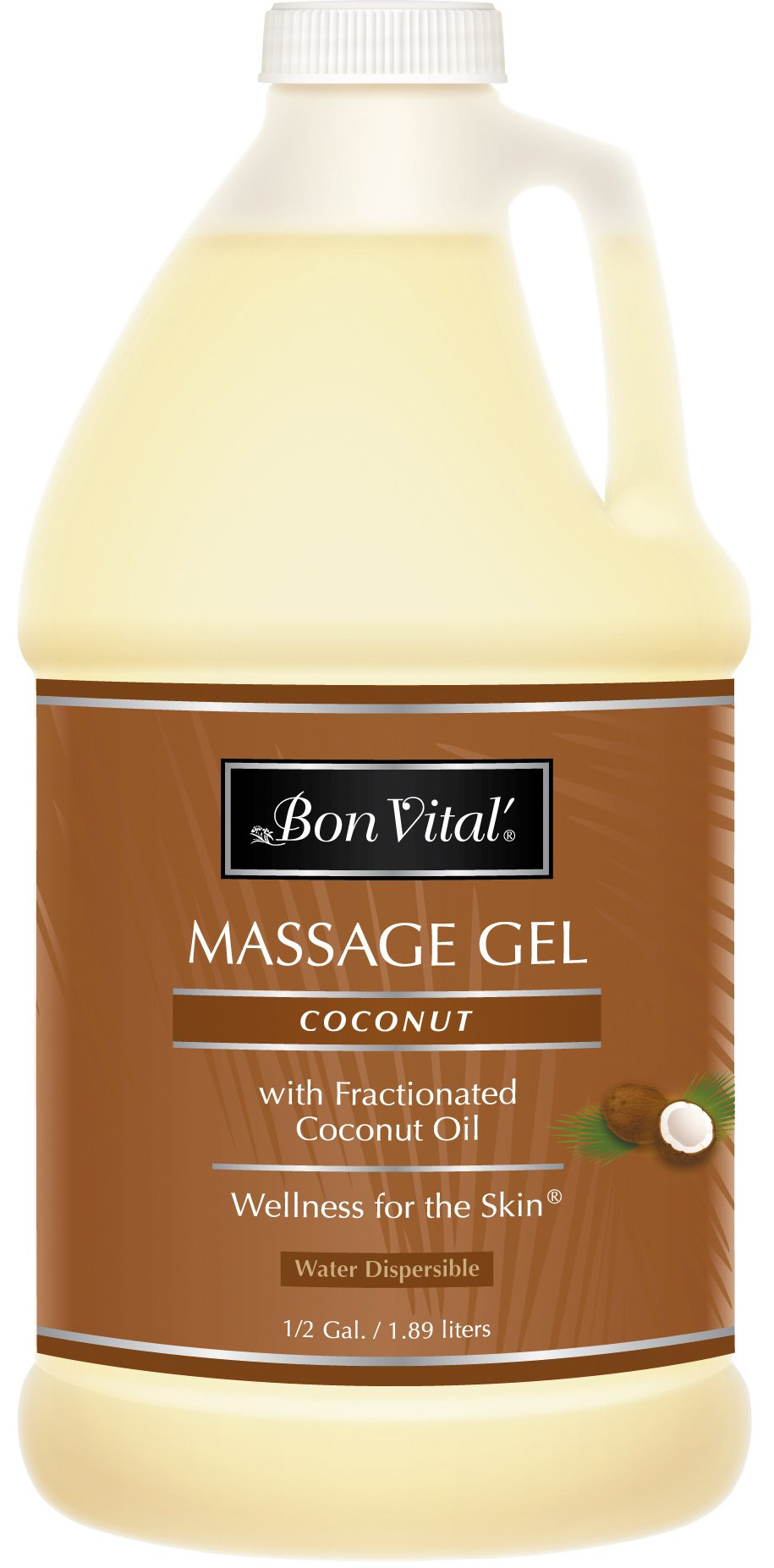 Bon Vital' Coconut Massage Gel Made with 100% Pure Fractionated Coconut Oil, Great for At-Home Use in Relaxing Back Massages & Neck Massages, Moisturizes Skin Without Clogging Pores, 1/2 Gallon Bottle