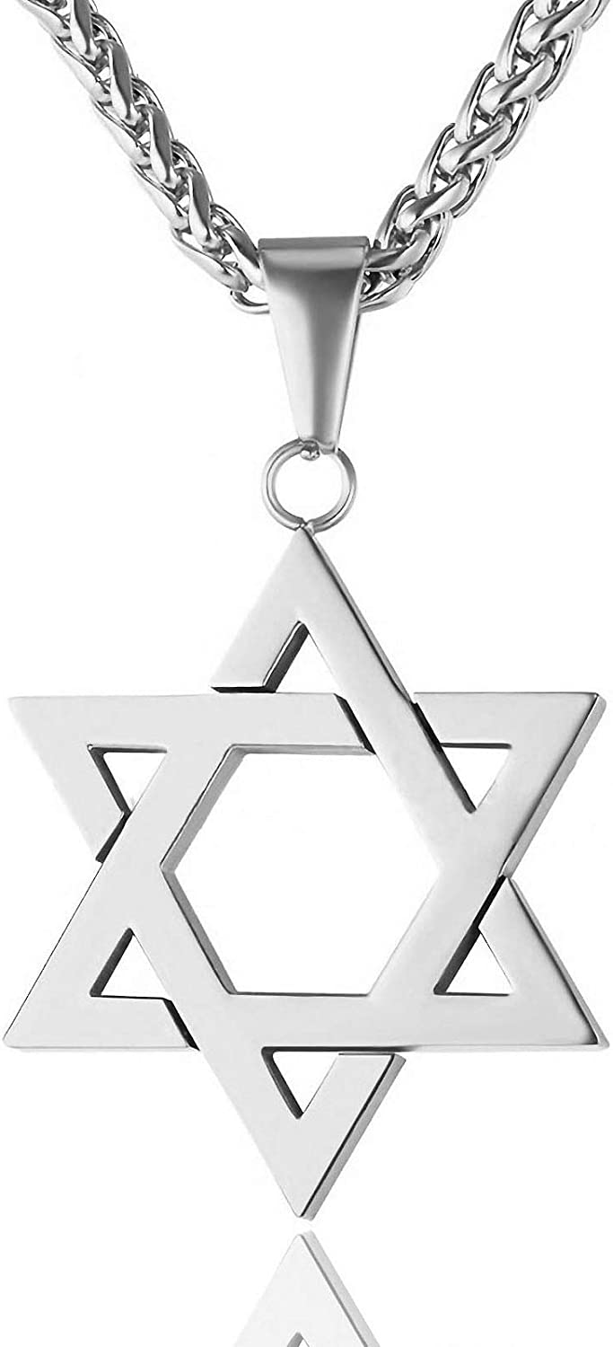 """JewelBeauty Star of David Pendant Necklace Stainless Steel Jewish Jewelry for Men Women Religious Free 24"""" Chain"""