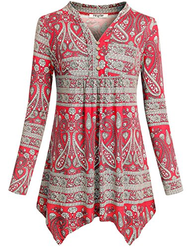 Patterned Knit Tunic (Hibelle Peplum Blouse Shirt Tops For Women, Ladies Long Sleeve Asymmetric Hemline Patterned Empire Waist Highwaist Polyester Knit Tunic For Legging Red XXL)