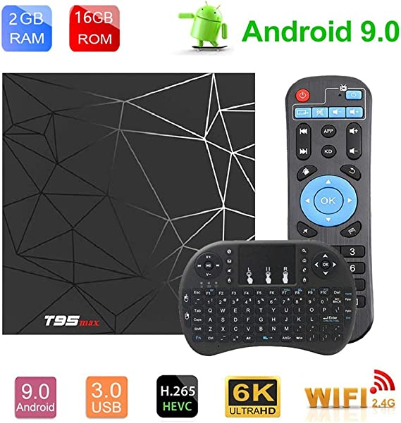 Android TV Box Android 9.0 OS Smart TV 2GB 16GB T95 MAX Support USB 3.0 2.4GHz WiFi 3D 4K Full HD H.265 100M Ethernet Android Mini PC with Wireless Keyboard Remote TTV Box