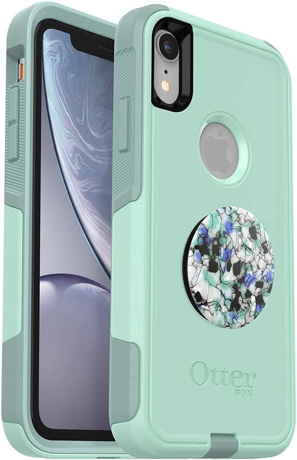 Bundle: OtterBox Commuter Series Case for iPhone XR - (Ocean Way) + PopSockets PopGrip - (Serpentine Granite)