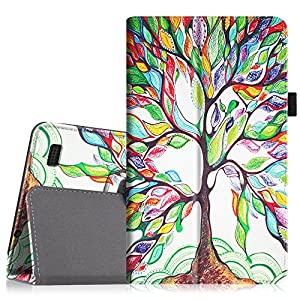 """Fintie Folio Case for Kindle Fire 1st Generation - Slim Fit Stand Leather Cover for Amazon Kindle Fire 7"""" Tablet (will only fit Original Kindle Fire 1st Gen - 2011 release, no rear camera), Love Tree"""