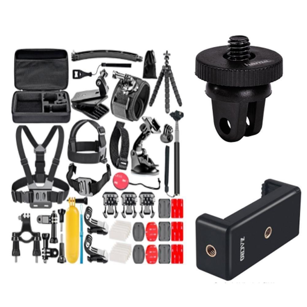 50-In-1 Action Camera Accessory Kit for GoPro Hero 6 5 4 3+ 3 2 1 Hero Session 5 Black AKASO EK7000 Apeman SJ4000 5000 6000 DBPOWER AKASO VicTsing WiMiUS Rollei QUMOX Lightdow Campark und Sony Sports