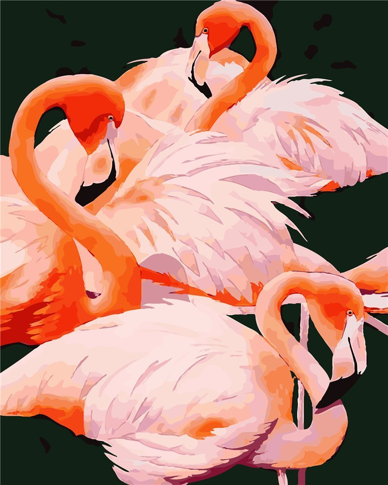 YEESAM ART New DIY Paint by Number Kits for Adults Kids Beginner - Beautiful Flamingos 16x20 inch Linen Canvas - Stress Less Number Painting Gifts (With Frame)