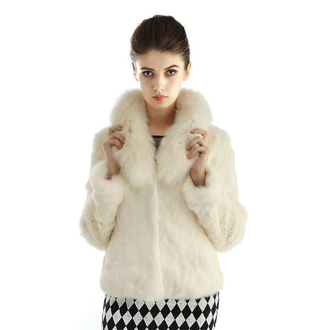 Vemolla Conejo Natural Las mujeres del abrigo de pieles de zorro chaqueta de cuello: Amazon.es: Ropa y accesorios