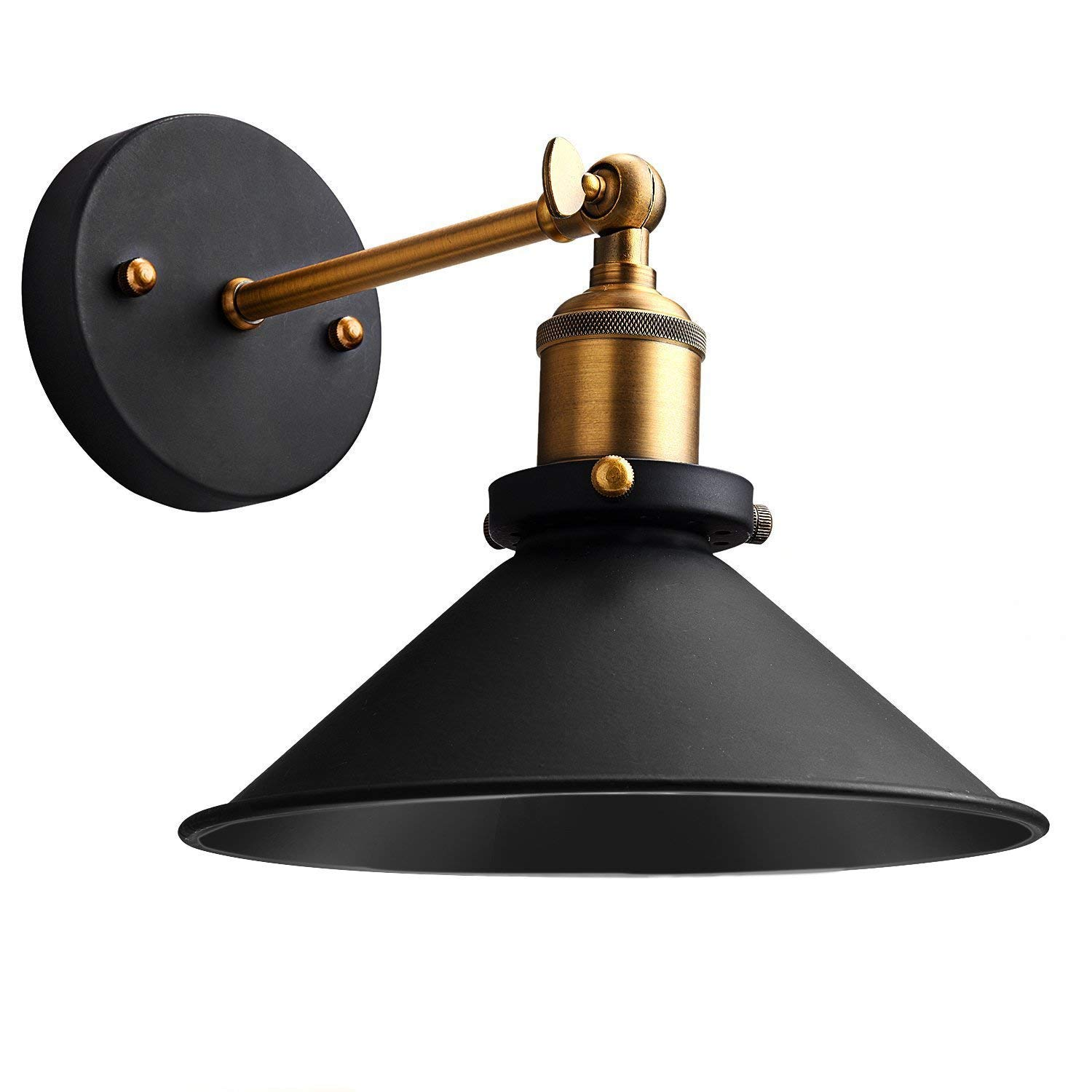 Industrial Wall Sconce, Rustic Black Metal Wall Sconce Adjustable 240 Degree Ceiling Light, Black Industrial Vintage Edison Pendant Light for Bathroom, Cafe and Club