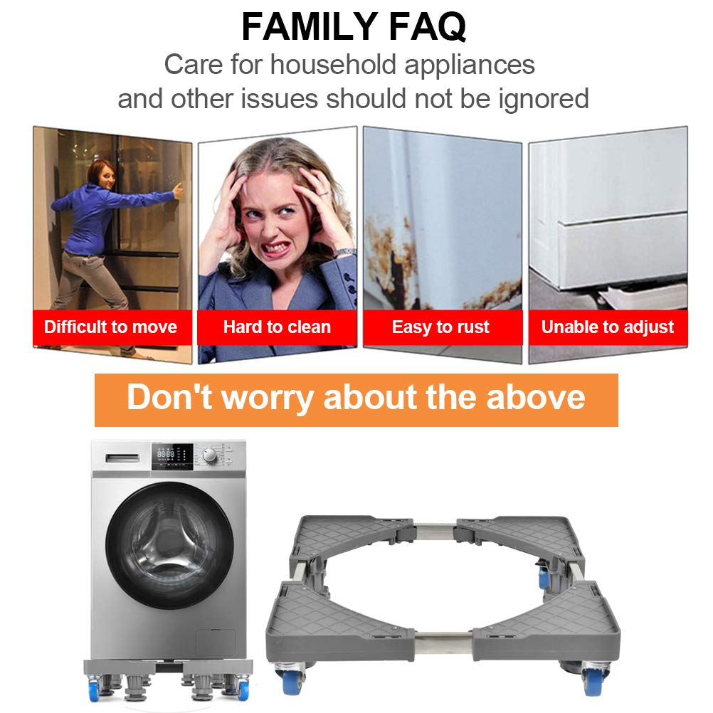 Cookers Fridges Movable Appliance Wheel Appliance Trolley with Casters for Tumble Dryers FOCCTS 1 Set of Adjustable Washing Machine Base Freezers
