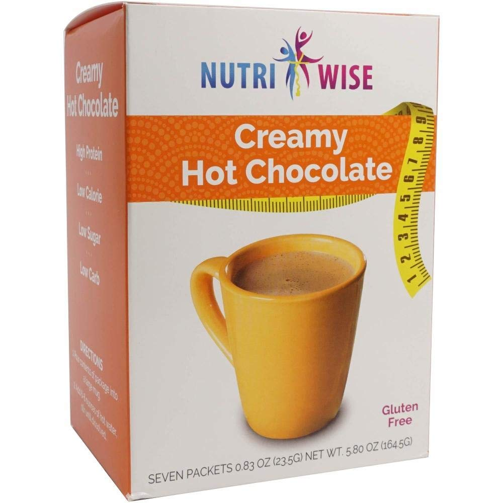 NutriWise - Classic Hot Chocolate | Healthy Diet Drink | High Protein, Gluten Free, Low Carb, Low Calorie, Trans Fat Free, Cholesterol Free (7/Box)