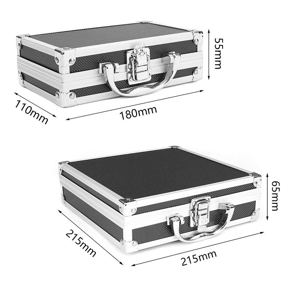 110 FUVOYA Caja de Aluminio Universal,Caja de Herramientas de Aluminio peque/ña con Material de Espuma Protectora Size 180 55mm