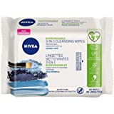 NIVEA 3-in-1 Biodegradable Face Cleansing Wipes for Normal Skin (40 Wipes), Makeup Remover Wipes, Facial Cleanser Wipes that