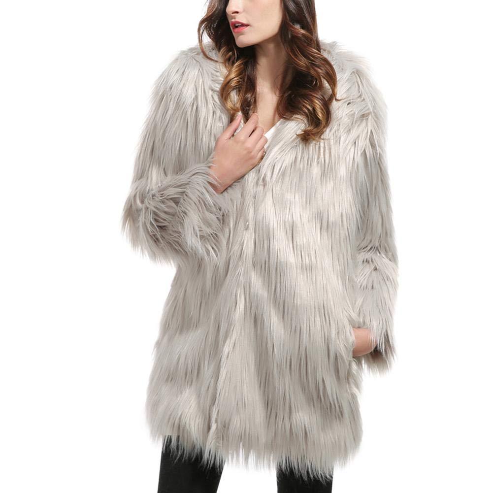 sweetyhomes Fashion Faux Fur Coat Women's Long Coat Autumn and Winter Plush Cardigan