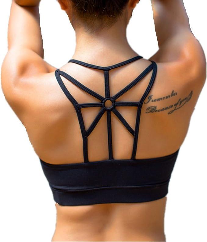 Womens High Impact Sports Bra Wirefree Push Up Run Yoga Bra