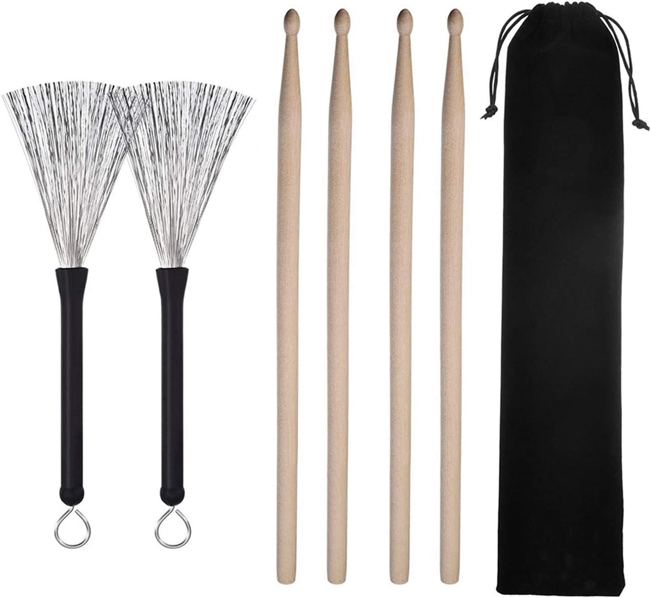 ZALING Classic Maple Wood Drumsticks Sets Drum Wire Brushes Retractable Drum Sticks Brush