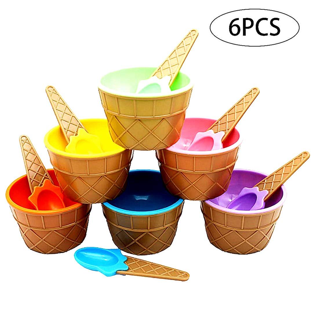 Snner Pl/ásticos de Helado congelados Vasos de Yogur con cucharas de Hielo de Colores Crema Postre Cuencos 1PC Color al Azar
