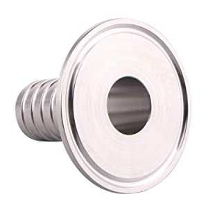 """Hose Barb Adapter- 2"""" Tri Clamp to 1"""" Sanitary Rubber Hose Barb Pipe Fitting, Stainless Steel SS304 (1 Inch)"""