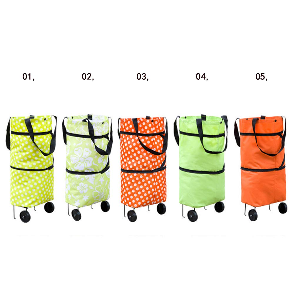 LF Folding Two-Wheeled Trolley Cart Portable Shopping Travel Leisure Shopping Bag,03