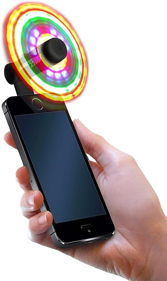 EDC Android USB-C Only Model Burning Man Light Up Fans for Cellphone or Halloween Mardi Gras FlashFan Festival Flash Fan LED Phone Fan - White