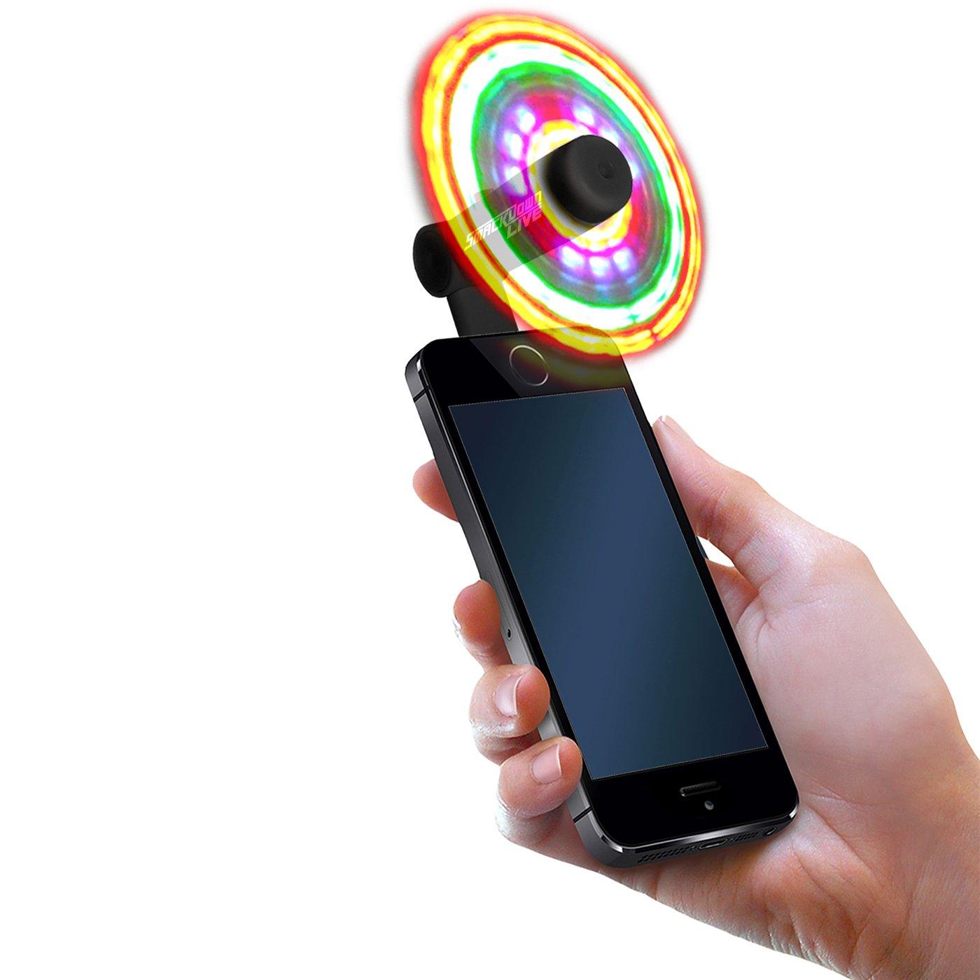 FlashFan Light Up Fans for Cellphone Flash Fan LED Phone Fan Android MICRO USB Only Model Burning Man EDC Mardi Gras Festival or Halloween Black
