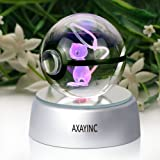 AXAYINC 3D Crystal Ball LED Night Lights Advance Laser Engraving Children's Gift (Mew)