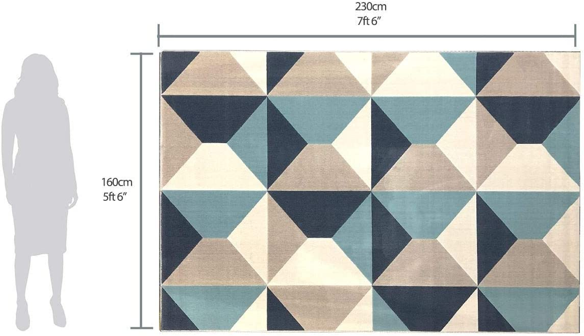 Grey /& Cream, 120x170cm Diamond Pattern in Soft Touch Large Living Room Rug Modern Style Rugs Home Accessories in Geometric Grey Cream