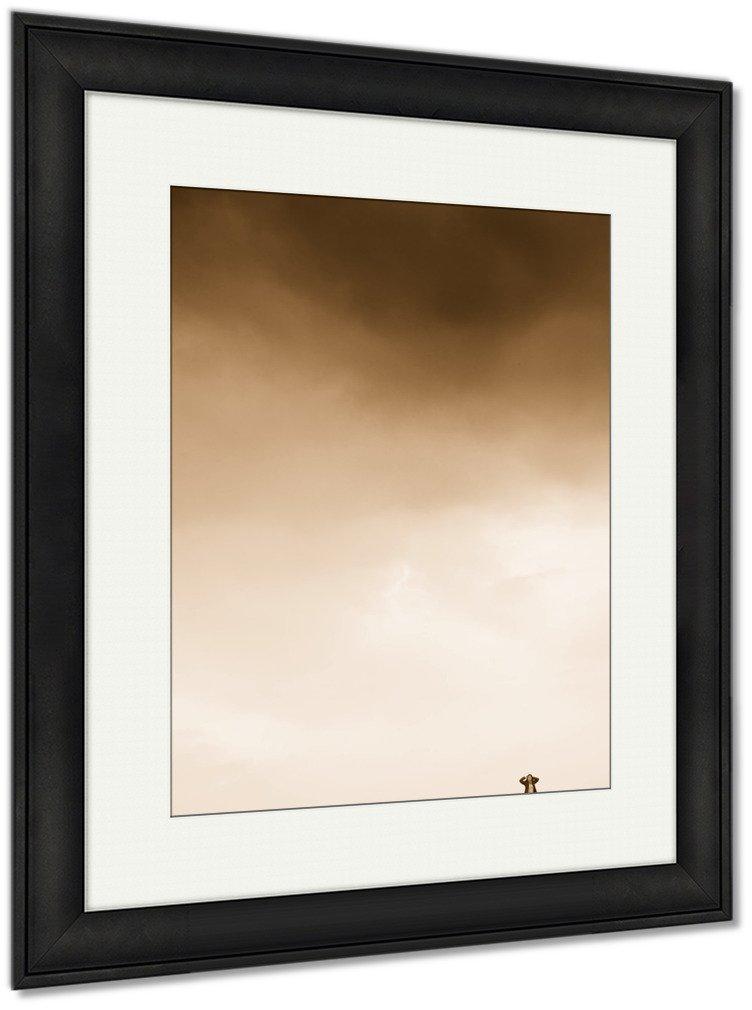 Ashley Framed Prints Girl Walking In Field, Wall Art Home Decoration, Sepia, 40x34 (frame size), Black Frame, AG5812678