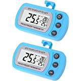 2 Pack Blue Digital Fridge Refrigerator Freezer Thermometer,Max/Min Record Function with Large