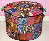 Beautiful HANDMADE Christmas Decorative Bohemian Ottoman Patchwork Ottoman Indian Embroidered Indian Vintage Cotton Round Pouf Foot Stool , Vintage Ottoman Bohemian Decor (Cover Only)