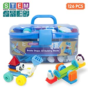 Bristle Interlocking Building Blocks for Boys and Girls, Stem Learning Idea Christmas Birthday Gifts for Early Skill Development, Creativity Sensory Toys for Toddlers & Kids 3,4,5,6 Years Old