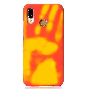 Felfy Okssud Carcasa Huawei P20 Lite,Funda Huawei P20 Lite Suave Silicona,Rojo Handprint Patrón inducción Calor Temperatura Cambio Color Case