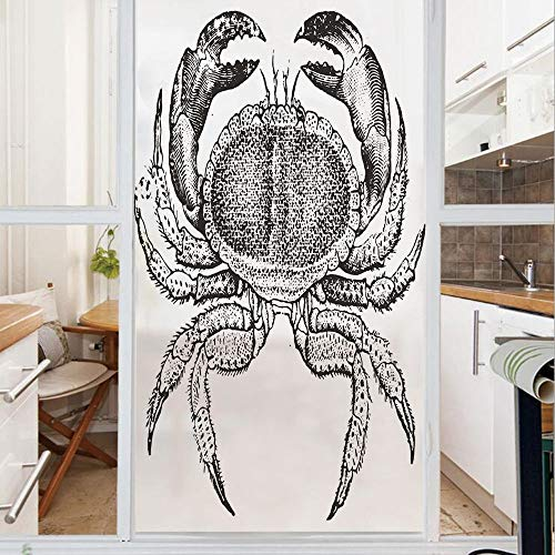 Decorative Window Film,No Glue Frosted Privacy Film,Stained Glass Door Film,Seafood Theme Design Vintage Engraved Illustration of an Edible Crab Print,for Home & Office,23.6In. by 78.7In Black and Whi